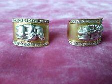 ITALIAN 14K WHITE AND YELLOW  GOLD ELEPHANT EARRINGS .37 TROY OUNCES