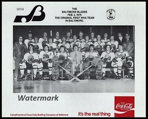WHA 1975 Baltimore Blades Black & White Team Picture 8 X 10 Photo Picture