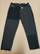 #372 BARNEY COOLS FADED BLACK BLOCK PANEL RELAXED CROPPED JEANS SIZE 34x25 NWT