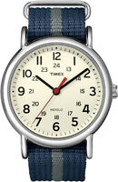 T2N654 Timex Weekender Slip Thru Watch Mens/Womens Unisex Blue Gray Stripe New