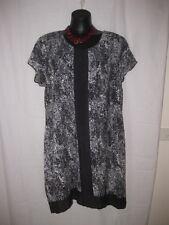 SIZE 20 SMART FLATTERING BLACK PRINT DETAILED TUNIC DRESS
