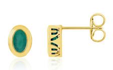 Emerald Stud Earrings 14K White Yellow or Rose Gold 7 x 5mm Oval Bezel Set Studs