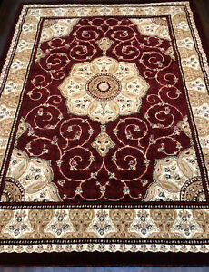 PATTERNED GREAT QUALITY SOFT RUGS MATS XLARGE 200CMX270CM POLI DESIGN RED BEIGE.
