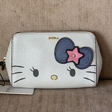 FURLA Hello Kitty TONI PETALO Blue White Medium COSMETIC CASE Make up Bag Ltd Ed