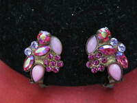 Antique looking SORRELLI (Est. 1983) PINK Clip On EARRINGS w/ Austrian Crystals