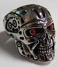 ROBOT SKULL HEAD W RED EYES STAINLESS STEEL RING size 9 silver metal S-527 biker
