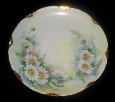 ROSENTHAL HAND PAINTED PLATE DAISY FLOWERS  HEAVY GOLD SCALLOPED RIM 1891