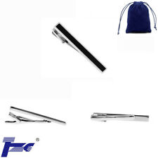 Fashion Stainless Steel Black Enamel Tie Clip With Velvet Bag Tie Clasp Bar Pin