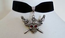 Black Velvet Red Eyed Pirate Choker Gothic Necklace Halloween