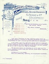 Paris II & XVIII ème - Belle Fabrique de Papiers d'Emballage G FERON de1917