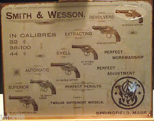 SMITH AND WESSON REVOLVERS 12 DIFFERENT MODELS  METAL SIGN, DESPERATE IND