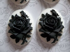 Blooming Black Rose Flower on White Cameo - 40X30mm Resin Cabochons - Qty 6