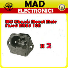 2 x IEC Mains C14 Male Socket Chassis Mount Fused M205 10A 250V