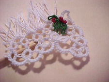 Tatted Christmas White Miniature Stick Horses by Dove Country Tatting