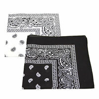 2 x Paisley Pattern Bandana Head / Neck Scarf 100% Cotton (Black & White)