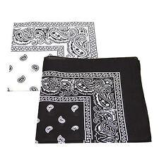 2 X patrón de Paisley Bandana Cabeza / Cuello Bufanda 100% Algodón (negro Y Blanco)