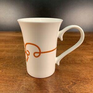 Starbucks Coffee Mug White 11 oz Orange Scroll Diamond Tea Cup 2014