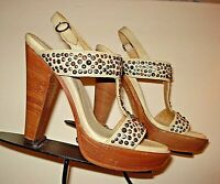 "FRYE ""Joy"" Ivory Leather Nail-Head Slingback Platform Heels Sz. 8.5B EXCELLENT"