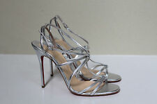 New sz 8.5 / 39 Christian Louboutin Youpiyou Silver Metallic Leather Sandal Shoe