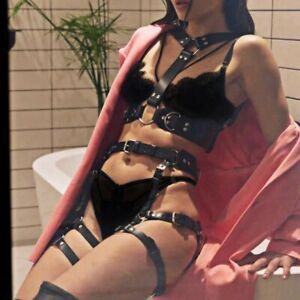 Women Sexy Leather Harness Garter Belt Corset Top Set Body Bondage Suspenders