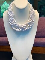 "Vintage White Woven Chinky Lucite large beaded bib statement necklace 18"" Long"
