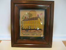 "Antique Framed Embroidery Titled ""The Lincoln Home 1844-1861"""