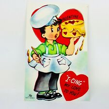 Vtg Valentines Card Baker Boy Heart Cake Ephemera Greeting Chef Hat 40s 50s