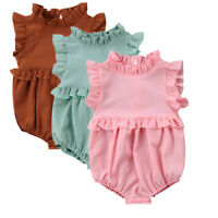 Vintage Retro Baby Girls Bubble Romper High Neck Ruffled Jumpsuit 3 6 9 12 18m