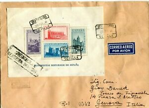SPAIN WAR (Y890) 1938 reg.let. air mail from SEVILLA  st. souv.sheet  to ITALY