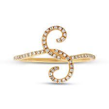 0.16CT 14K Amarillo Diamante Oro Paisley Abierto Envolvente Espiral Tendencia S