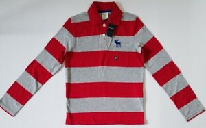 NEW ABERCROMBIE FITCH KIDS A&F Boys Long Sleeve Polo Shirt RED STRIPE S M L XL