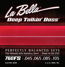 LA BELLA 760FS DEEP TALKIN' FLATWOUND BASS STRINGS, MEDIUM GAUGE 4's - 45-105