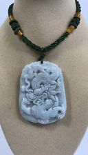 Handcrafted knot work cord adjustable jade carved dragon pendant/necklace