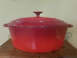 CASTIRON #31 OVAL DUTCH OVEN RED ENAMELED MADE IN FRANCE LE CREUSET??