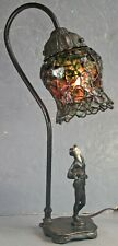 Vintage JB Hirsch Collection Francaise Female Deco Dancer Lamp Lead Glass Shade