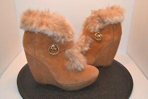 Michael Kors womens suede wedge ankle boots-Lara-Mocha-sz 7M