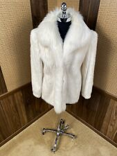VINTAGE DYED WHITE CORDUROY MINK W/ FOX COLLAR FUR JACKET COAT SMALL 4 - 6