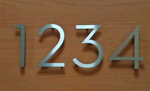 "New 4"" or 6"" floating house/door numbers solid 2mm brushed stainless steel"