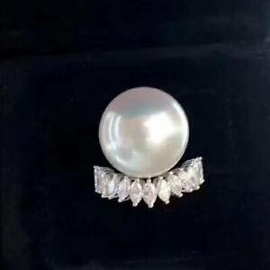 Natural Diamond South Seawater Pearl Women Engagement Bridal Ring 14K White Gold