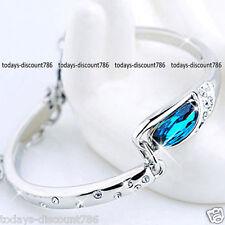 Pulsera Azul Zafiro Cristal Amor Navidad Cumpleaños regalos para su madre para Mujeres Nuevo