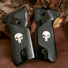 Beretta 92 FS grips Acrylic PMMA with Punisher logo made of silver.