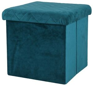 Ottoman Cube Pouffe Storage Box & Seat up to 120kg Velvet Green Collapsible