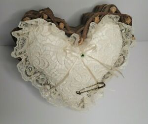 Ring Barer Pillow in Heart Shaped Basket Natural Woven Wood Ivory Lace Wedding