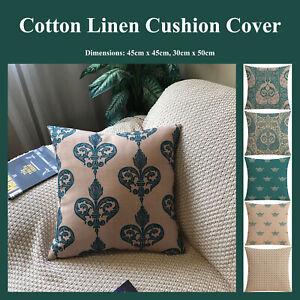 Royal Crown Queen Peacock Cotton Linen Cushion Cover Decorative Pillow Case