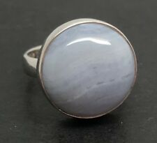 Blue Lace Agate Solid Sterling Silver ring, new, UK size L (smallish) round 🇬🇧