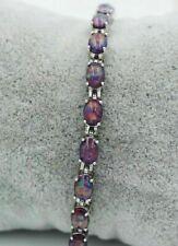 "Stunning Sterling Silver Dipped Oval Black Fire Opal Tennis Bracelet 7.5""-8'"