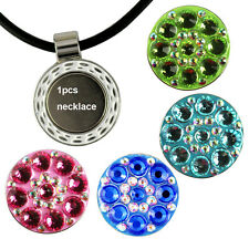 Crystal charm Golf Ball Marker with Magnetic Pendant Necklace Black Leather Cord