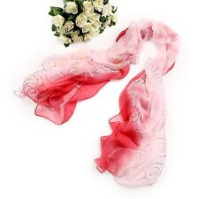 Long Silk Chiffon Scarf Red and White Theme SCH038