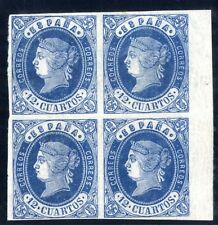 Sellos de España 1862 nº 59 azul-rosa 12 cuartos Bloque de Cuatro Isabel II