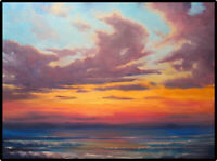 Jeff Love Large Original Oil Painting Bright Ocean Waves Sunset *Beach House Art